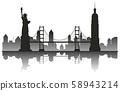 New York Silhouette Travel Landmark 58943214