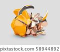3d rendering of broken piggy bank with money 58944892