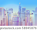 Construction work, cityscape with cranes and skyscrapers, house building 58945876