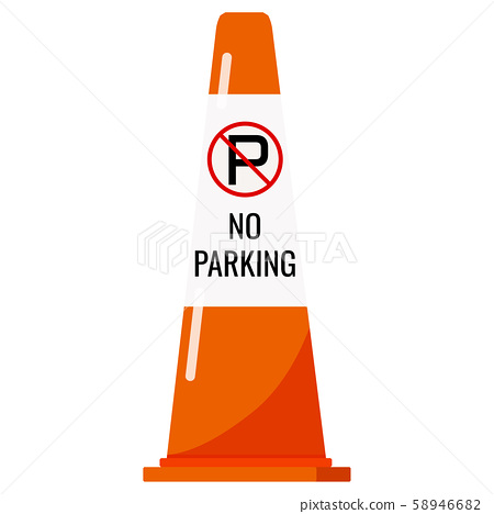 Orange color plastic traffic cone with reflective stripe sticker and no parking sign isolated on 58946682
