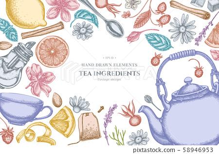 Design with pastel cinnamon, lemons, oranges, tea bag, sugar cubes, heather, chamomile, dog rose 58946953