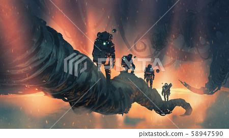 walking on giant trees in the alien planet 58947590