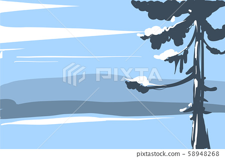 Vector illustration Winter landscape sketch with christmas tree mountains and forest 58948268