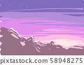 Vector of sunrise or sunset winter landscape on mountains 58948275