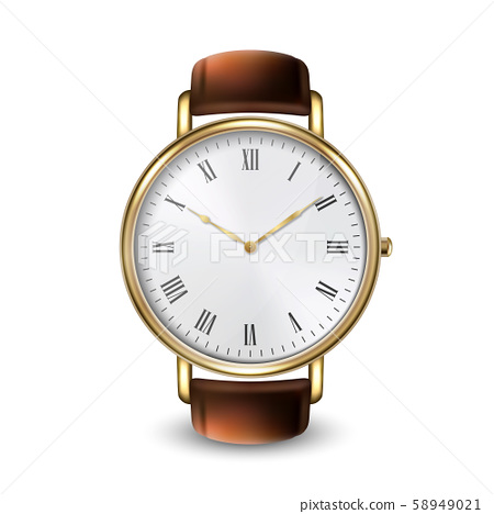 Realistic Golden Classic Vintage Unisex Wrist Watch with Roman Numerals Icon Closeup Isolated on 58949021