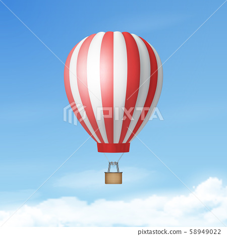 Vector 3d Realistic White and Red Hot Air Balloon on Blue Sky Background. Design Template for 58949022
