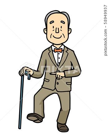 Illustration | Elderly | Grandpa | Gentleman | Cane | Walking | 58949937