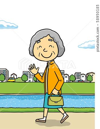 插图|老人|走路|祖母| 58950185