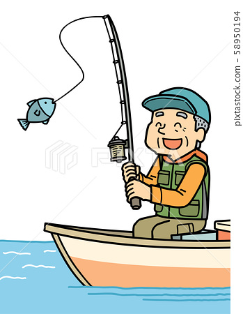 插图 中年 钓鱼 业余爱好 爷爷 58950194