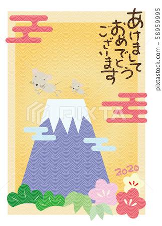 후지산 송죽매 쥐 일본식 디자인 연하장 58959995