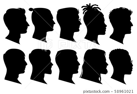 Silhouette man heads in profile. Black face outline avatars, professional male profiles anonymous 58961021