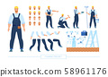 Construction Worker Character Constructor Vector 58961176