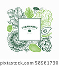 Green vegetables design template. Hand drawn 58961730