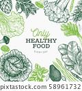 Green vegetables design template. Hand drawn 58961732
