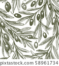 Olive branch seamless pattern. Hand drawn vector 58961734