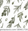 Olive branch seamless pattern. Hand drawn vector 58961736