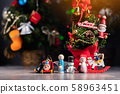 Christmas background with decorations and gift 58963451