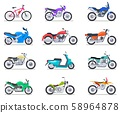 Motorbike set. Motorcycle and scooter, bike and chopper. Motocross and delivery retro and modern 58964878