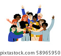 Group of Happy People Celebrating an Important Event, Young Men and Women Clinking Glasses and 58965950