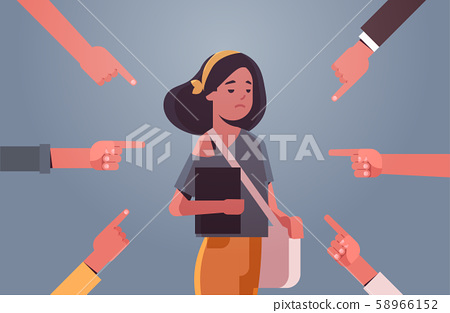 depressed girl student being bullied surrounded by hands fingers mocking her peer violence bullying 58966152
