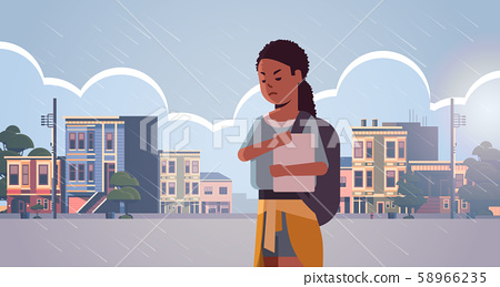 upset lonely female student having anxiety depressed girl with backpack holding book depression 58966235