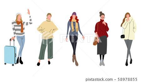 插圖素材:女士,冬季時尚 58978855