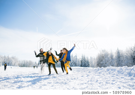 Group of young friends on a walk outdoors in snow in winter forest, having fun. 58978960