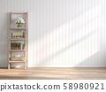 Vintage style empty room 3d render 58980921