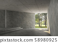 Empty concrete room interior with nature view 3d render 58980925