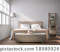 A vintage style bedroom with blank plank walls 3D render 58980926