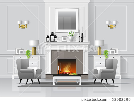Luxury living room interior background with fireplace and furniture in classic style 58982296