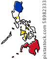 Simplified map of Philippines outline, with 58982333