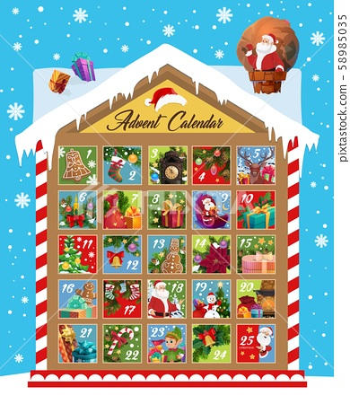 Advent calendar of Christmas and New Year holidays 58985035