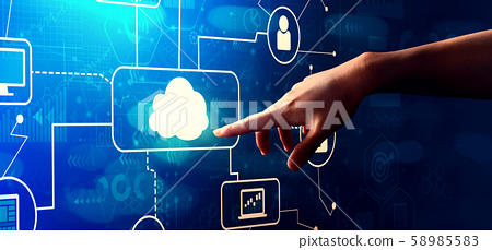 Cloud computing with hand pressing a button 58985583