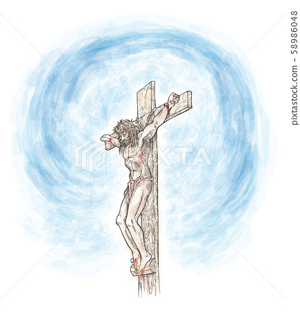 jesus crucifix watercolor hand draw. illustration 58986048