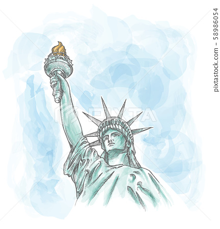 the statue of liberty on watercolor sky 58986054