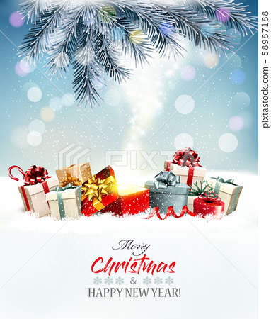 Holiday Christmas background with a red magic box 58987188