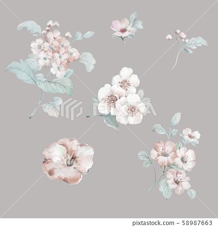 色彩豐富的水彩花卉設計 58987663