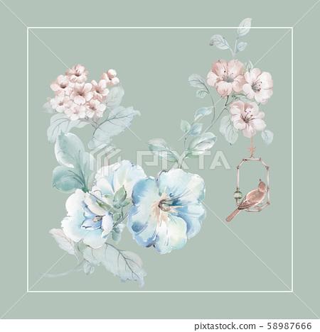 色彩豐富的水彩花卉設計 58987666