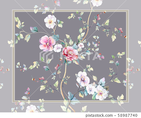 Elegant beautiful watercolor flowers and greeting card design 58987740