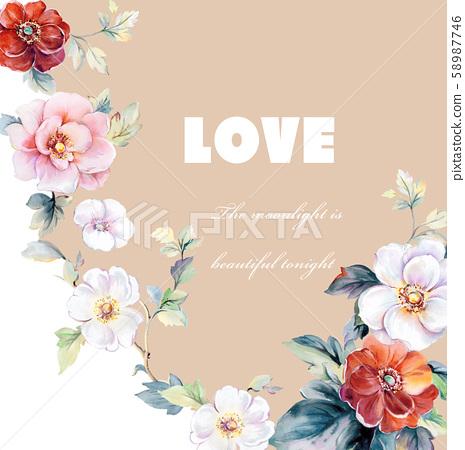 優雅美麗的水彩花卉和賀卡設計 58987746