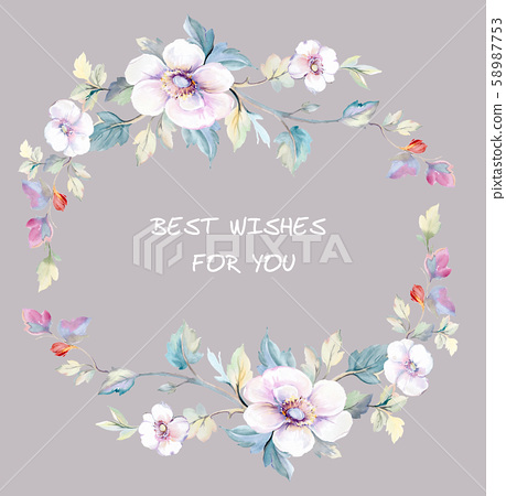 Elegant beautiful watercolor flowers and greeting card design 58987753