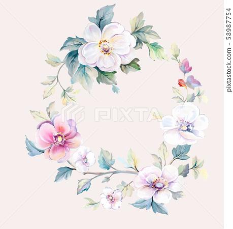 優雅美麗的水彩花卉和賀卡設計 58987754