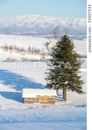 일본의 시골의 겨울 풍경 58987934