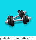 black iron dumbbels on blue 58992118