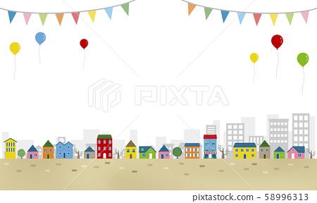 居住區和氣球 58996313