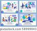 Sales Coaching and Online Training Flat Banner Set 58999043