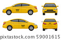 Taxi realistic. Yellow city car vehicle branding taxicab top left and right side vector 3d pictures 59001615