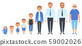 Male different ages. Newborn teenage boy man person old grandfather adult peoples vector clipart 59002026