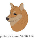 Continuous line Shiba Inu. Single line minimal style dog vector illustration. Portrait 59004114